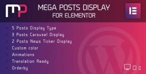 Mega Posts Display for Elementor v1.0 - Premium Wordpress Plugin
