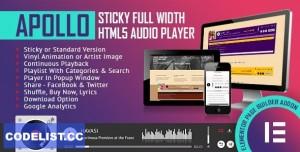 Apollo v1.0.0 - Sticky Full Width HTML5 Audio Player - Elementor Widget Addon