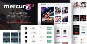 MERCURY V3.4.3 - GAMBLING & CASINO AFFILIATE WORDPRESS THEME. NEWS & REVIEWS