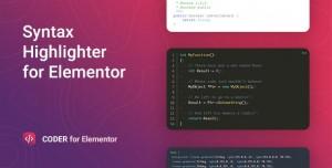 Coder v1.0.4 - Syntax Highlighter for Elementor