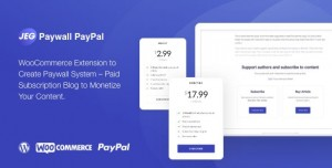 Jeg Paypal Paywall & Content Subscriptions System v1.0.1 - WooCommerce Plugin